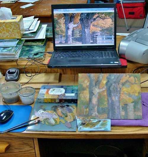 Художник и ноутбук